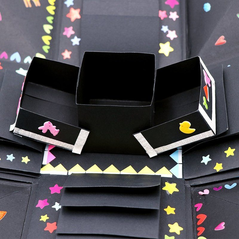 OurWarm Explosion Gift Box Explosion Box DIY Handmade Photo Album Scrapbooking Creative Surprise Box for Wedding Engagement Anniversary Graduation Birthday Gifts Black