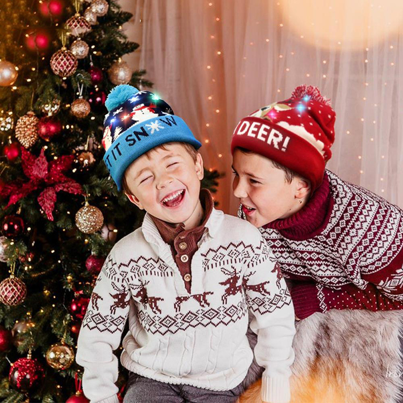Christmas Beanie Light Up Hat Knitted LED Xmas Cap Headwear for Kids Adults Gift