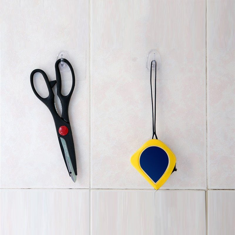 AY6 Self Adhesive Anti-skid Hook Reusable Transparent Wall Hanger Hook 1//6//10pc