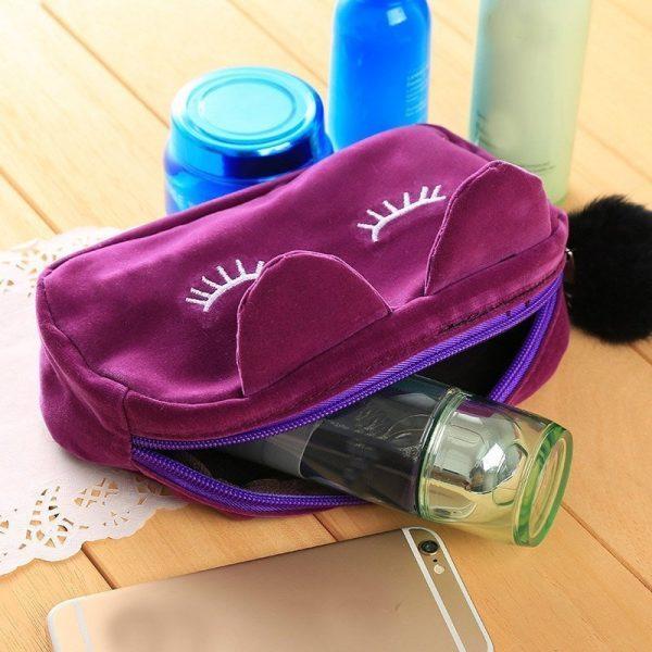 Velvet Cat Cosmetic Bag