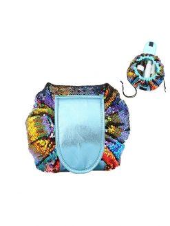 buy Mermaid Sequins MakeUp Bag with Drawstring Closure