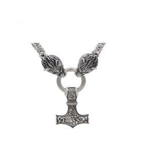 buy Handmade Stainless Steel Wolf Head Mjolnir Chain