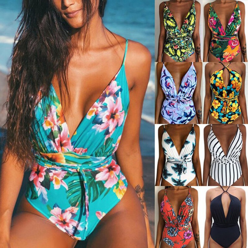 Women Multi-Flower Printed One Pieces Bikini