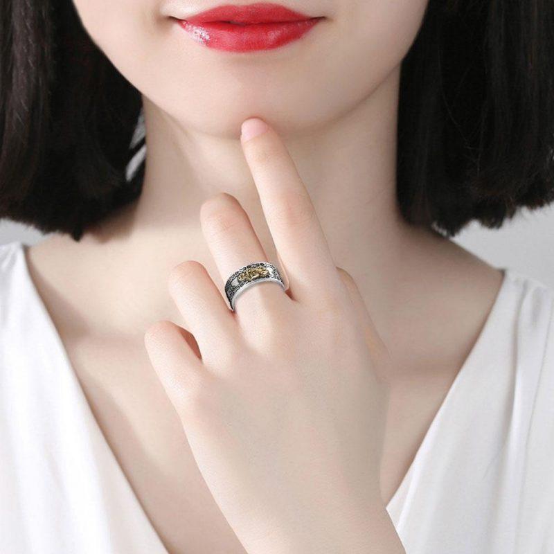 Feng Shui Pixiu Mani Mantra Protection Wealth Ring