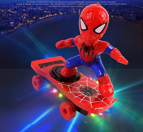 Spiderman/Iron man Scooter Electric Car Stunt Music led Light Toys
