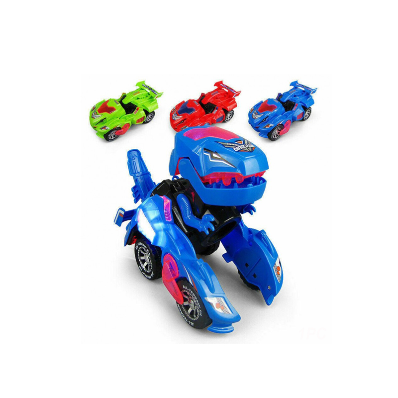 LED Deformation Car Toy Dinosaur Car Toys with Light Christmas Gifts for Kids