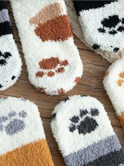 Winter Cat Claws Warm Sleep Floor Socks