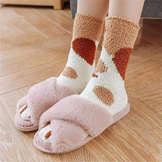 Winter Cat Claws Warm Sleep Floor Socks