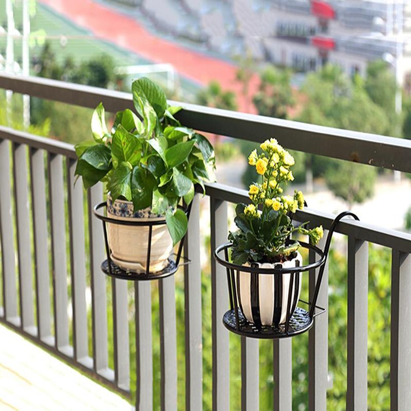 metal fence flower pots