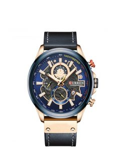 Sport Watch for Men luxury military leather clock