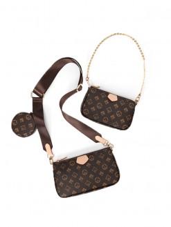 3 in 1 messenger Leather Woman Handbag crossbody tote clutch