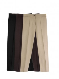 Aachoae solid Women legging Pleated casual pencil Pants