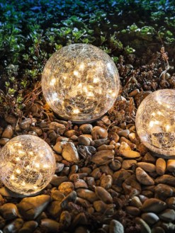 Solar Led Outdoor Garden Waterproof Cracked Glass Ball Light