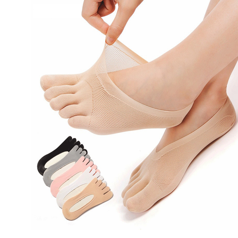 FUN TOES Womens Cotton Toe Socks-Breathable-6 PAIRS Pack