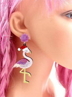 Flamingo Designed Glitter Christmas Earrings