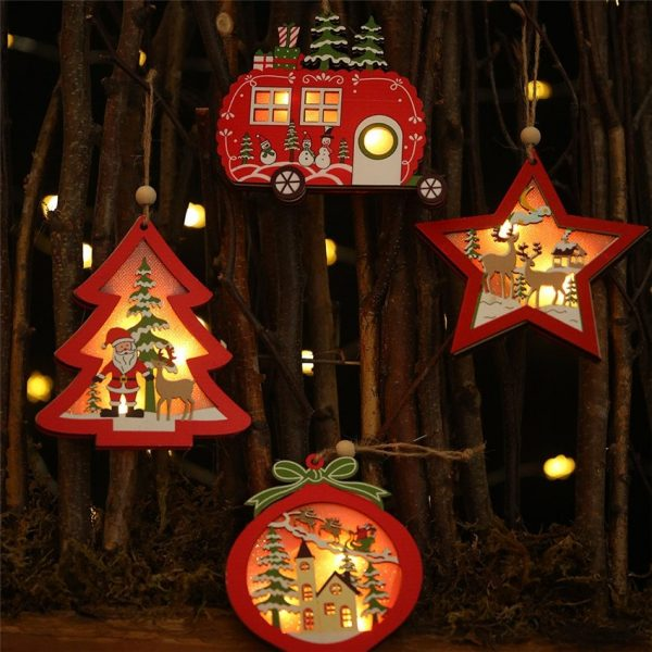 LED Light Christmas Tree Star Car Wooden Pendants Crafts Ornaments