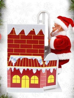 Santa Claus Climbing Chimney Toy with Music
