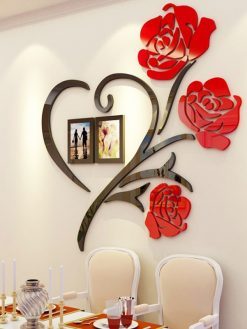 Multi-Pieces 3d Rose Flower Pattern Wall Decoration