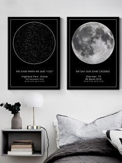 Custom Star Map Night Sky Canvas Painting Wall Art Picture