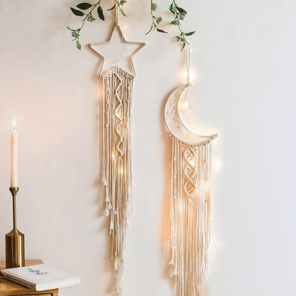 Nordic Star Moon Macrames Dream Catcher Room Decoration