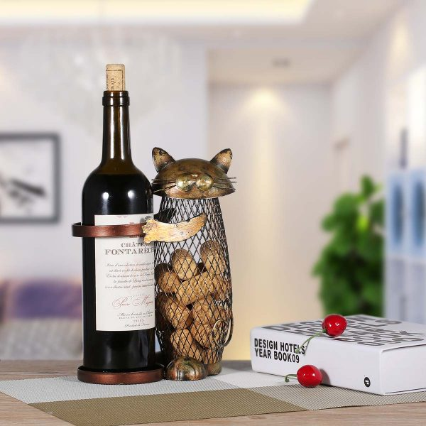 Cat Metal Wine Rack Stand Container