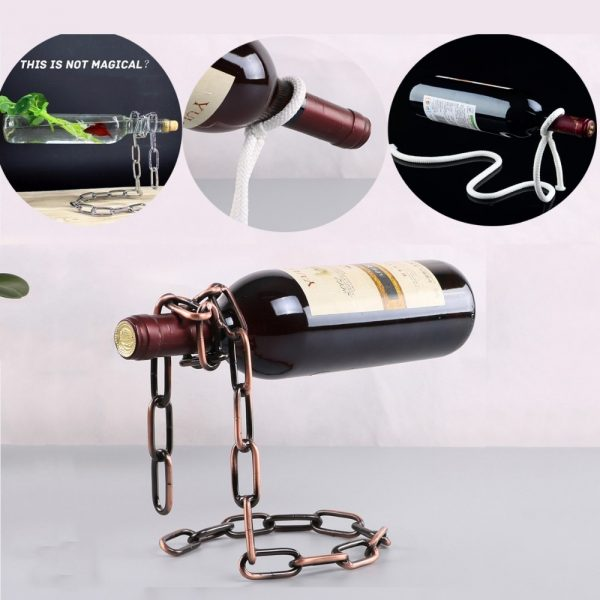 Creative Hanging Chain Rope Bottle Holder