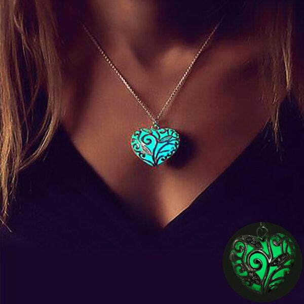 Glowing Heart Necklace Luminous Stone