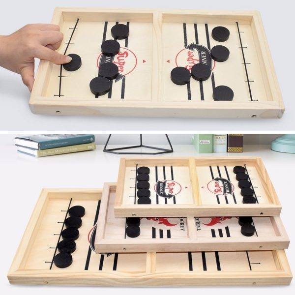 Sling Wooden Puck Table Hockey Game