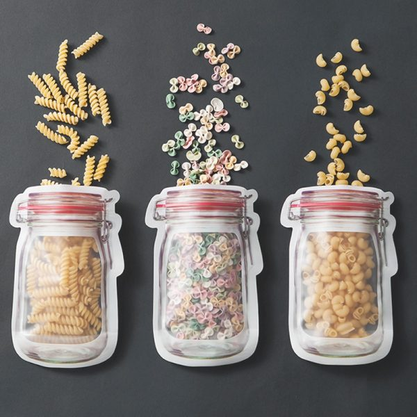 Reusable Mason Jar Bottle Ziplock Nuts Candy Cookies Waterproof Bag