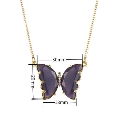 Crystal Glass Butterfly Necklace Pendant