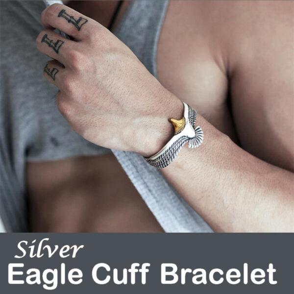 Silver Viking Eagle Cuff Bracelet