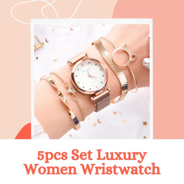 5pcs Set Luxury Women Wristwatch