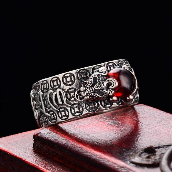 Silver Tibetan Six Words Ruby Lucky Feng Shui Pixiu Ring